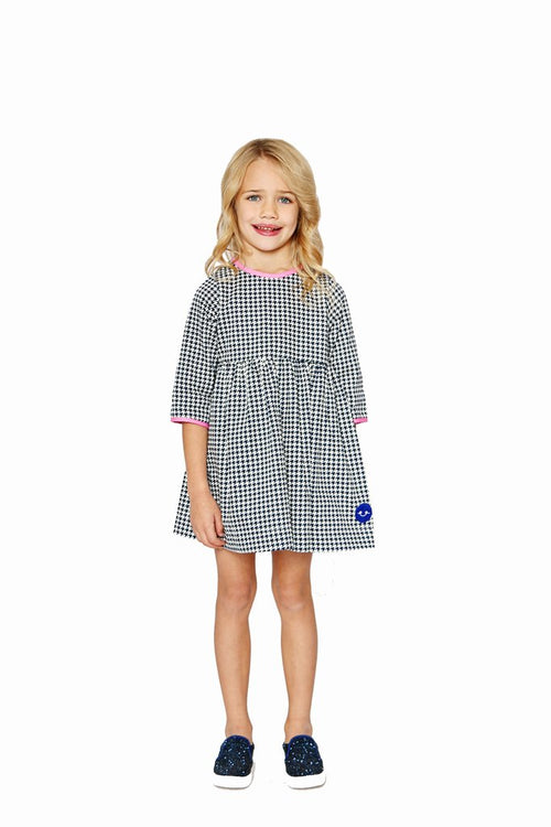 Smiling Button Winnie Dress, Navy Houndstooth with Pink
