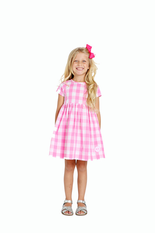 Smiling Button Sunday Dress, Bubblegum Gingham