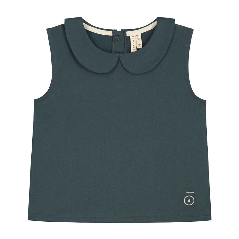 Collar Tank Top, Blue Grey