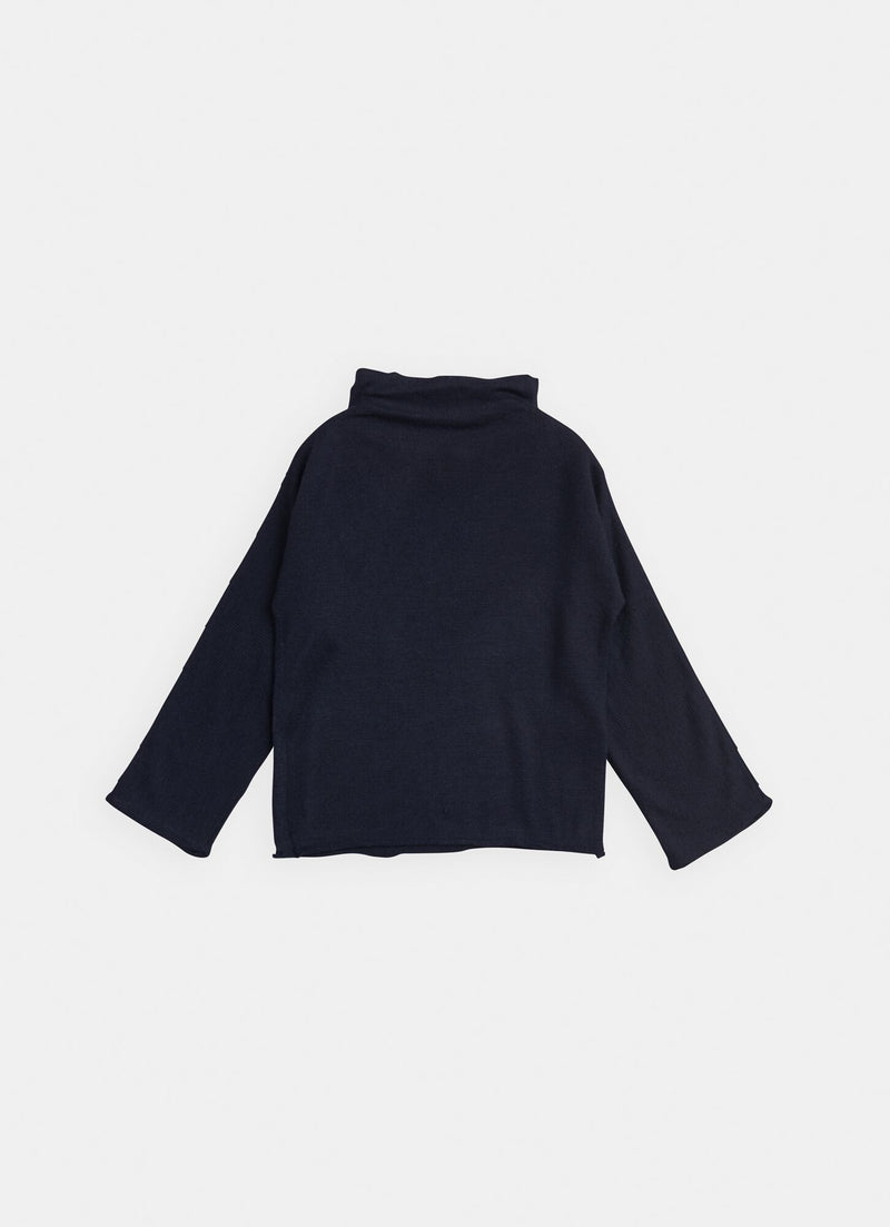 Belle Enfant Bamboo Funnel Neck Sweater, Navy
