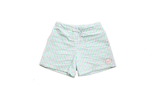 Smiling Button Play Shorts, Seaside Seersucker