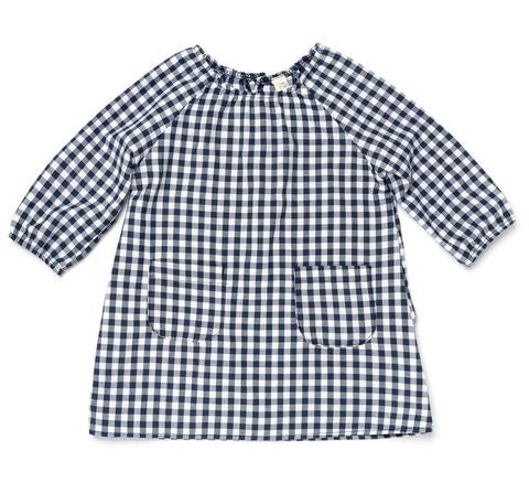 Les Gamins Linen Smock Dress, Navy Gingham
