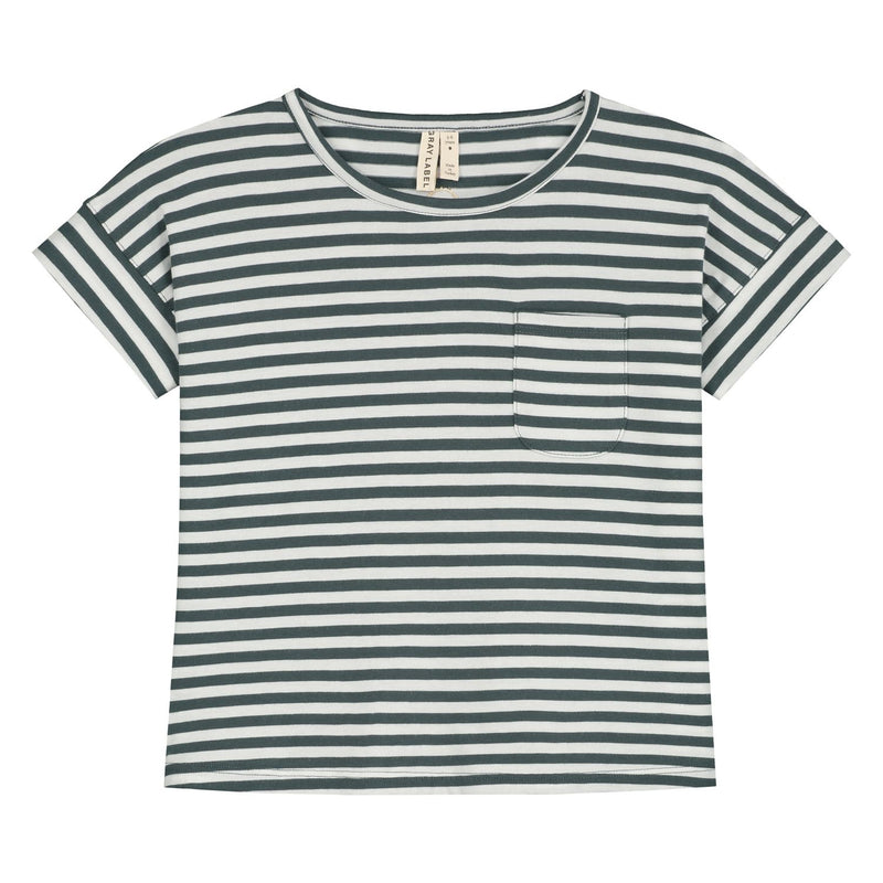 Boxy Tee, Blue Grey/Off White Stripe