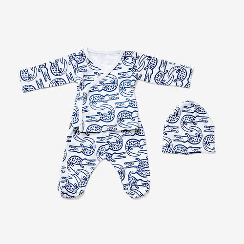 Lewis Newborn Kimono Set Alligator, Denim