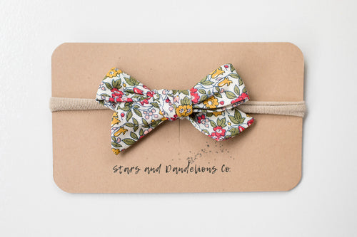 Stars and Dandelions Lillianna Baby Bow, Yellow & Green Floral