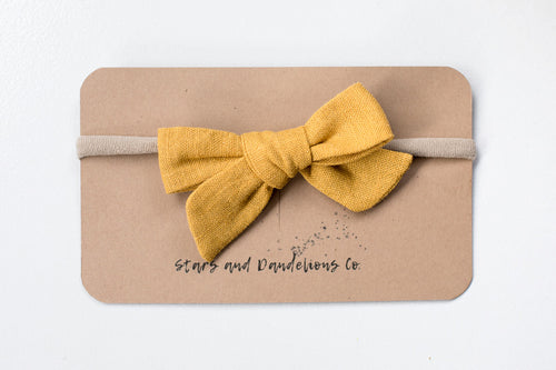 Stars and Dandelions Lillianna Baby Bow, Mustard