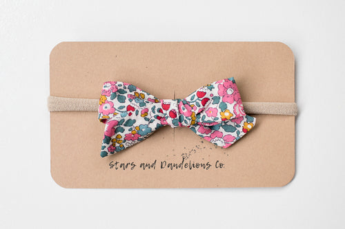 Stars and Dandelions Lillianna Baby Bow, Pink Floral