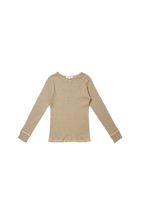 Caramel Bamburgh Rib Top, Straw Stripe