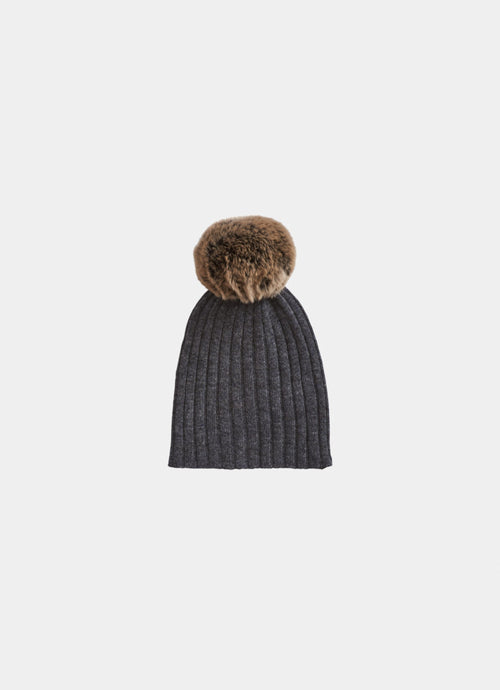 Belle Enfant Rib Hat with Rabbit Fur Pompom, Graphite Marl