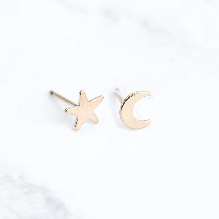Kids Earrings, Star and Moon Gold Set