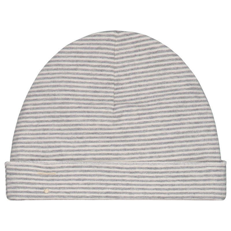 Baby Beanie, Grey Melange/Cream Stripe