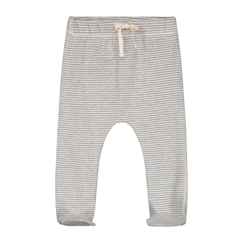 Gray Label Baby Footies, Grey Melange/Cream Stripe