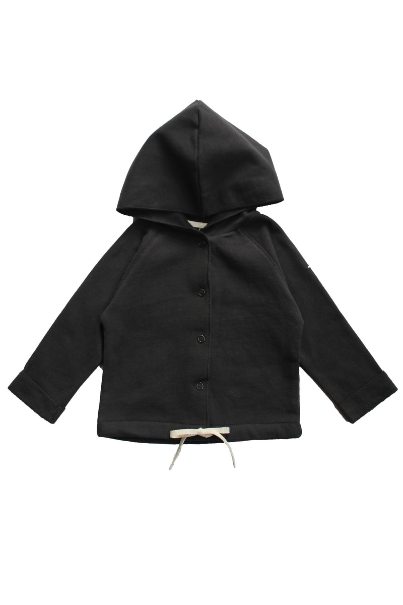 Gray Label Baby Hooded Cardigan, Nearly Black