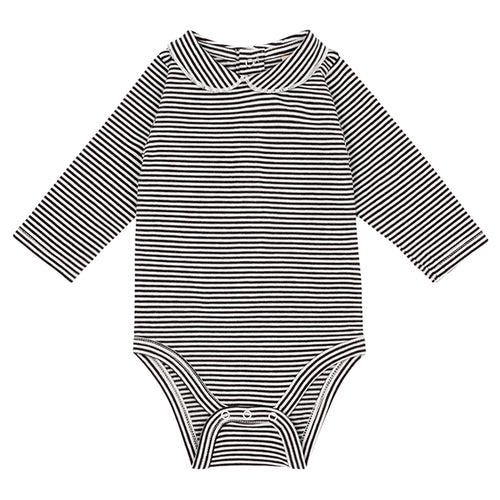 Gray Label Baby Onesie with Collar, Nearly Black / Cream Stripe