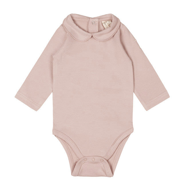 Gray Label Baby Onesie with Collar, Vintage Pink