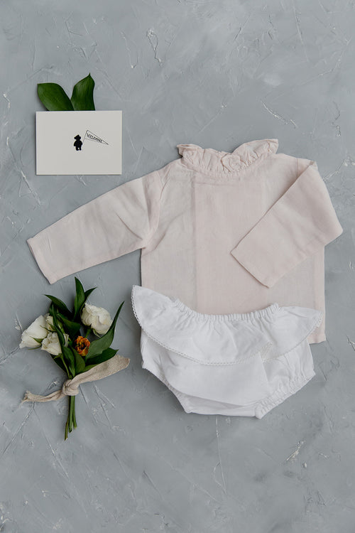Louelle. Gift Set, Blossom Pink Linen Blouse with White Frill Bloomer