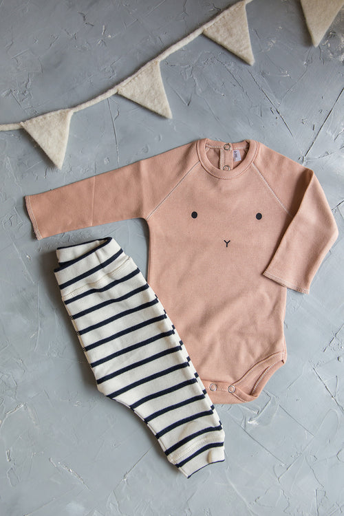 Organic Zoo Gift Set, Clay Bunny Body + Breton Stripe Pants