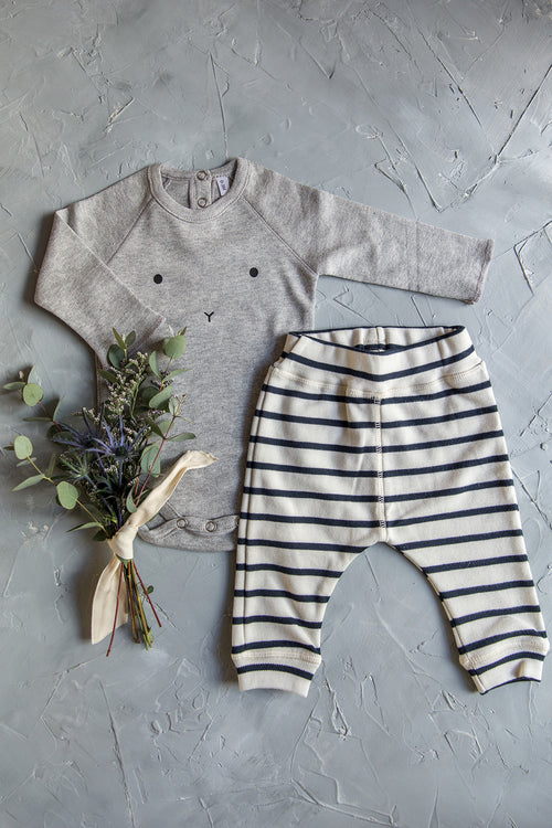 Organic Zoo Gift Set, Grey Bunny Body + Breton Stripe Pants