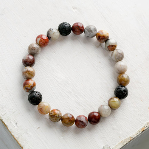 Kids Essential Oil Bracelet, Crazy Lace Agate