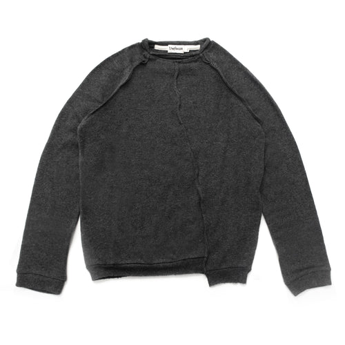 Treehouse Pullover with Hem Detail, Charcoal Marl