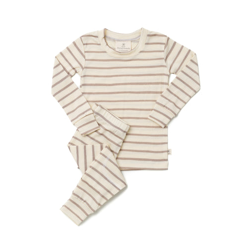 Chasing Windmills Thermal Long Johns, Taupe Stripes