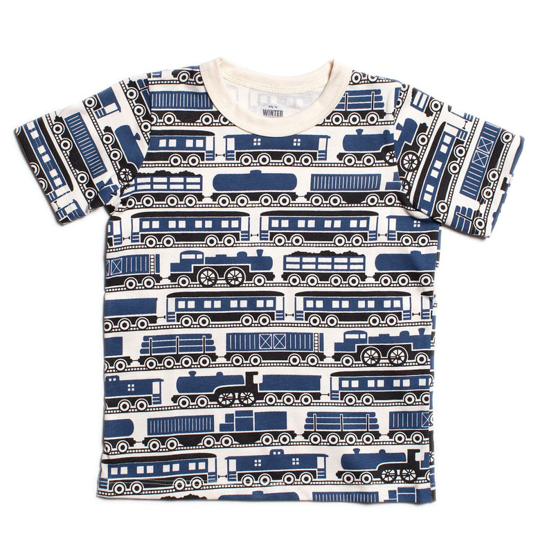 Winter Water Factory Short Sleeve Tee, Trains Navy