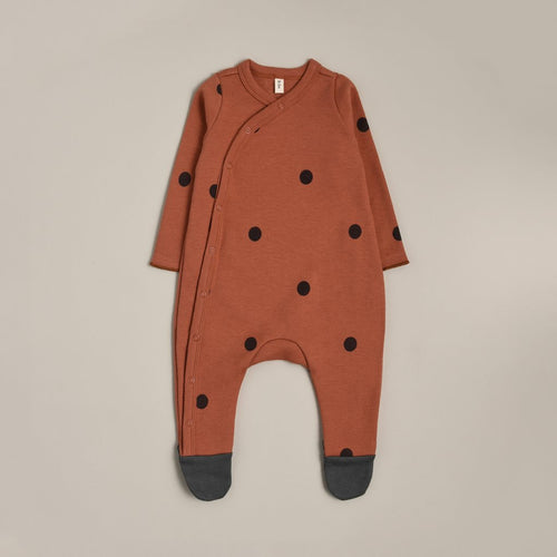 Organic Zoo Long-Sleeve Suit, Earth Dots