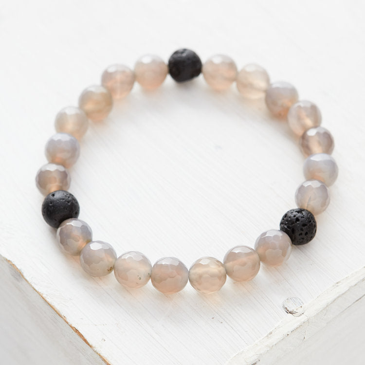 Kids Essential Oil Bracelet, Gray Agate