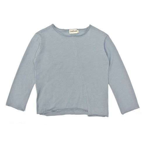 Treehouse Long Sleeve Shirt with Asymmetric Line, Fog Blue