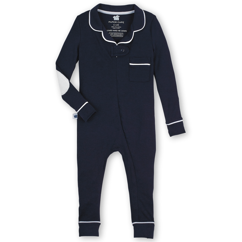 Footless Pajama Onesie, Navy