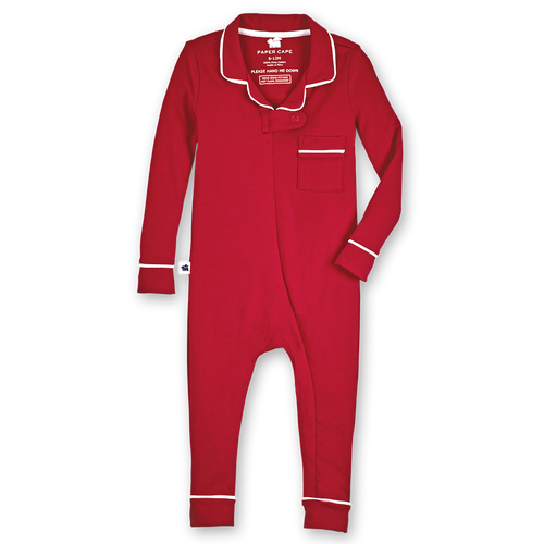 Footless Pajama Onesie , Red