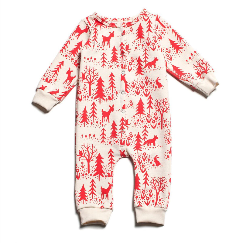 Winter Water Factory French Terry Jumpsuit, Winter Scenic Red