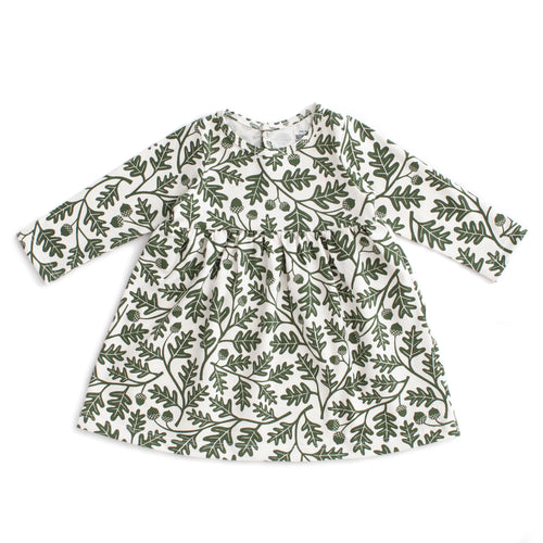 Geneva Baby Dress, Oak Leaves Forest Green