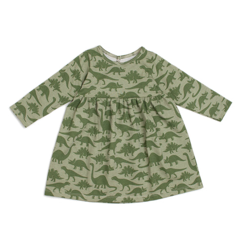 Winter Water Factory Geneva Baby Dress, Dinosaur Sage