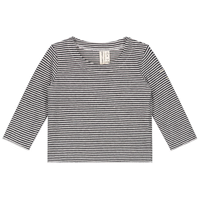 Gray Label Baby Long Sleeve Tee, Nearly Black/Cream Stripe