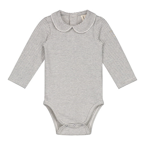 Baby Onesie with Collar, Grey Melange / Cream Stripe