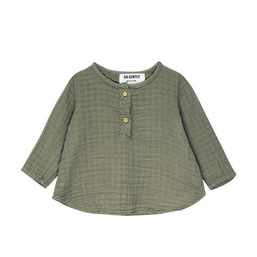 Gauze Placket Top, Thyme