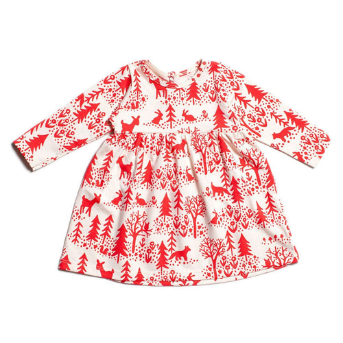 Winter Water Factory Geneva Baby Dress, Winter Scenic Red