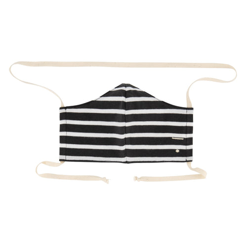 Face Mask, Nearly Black/Off White Stripe
