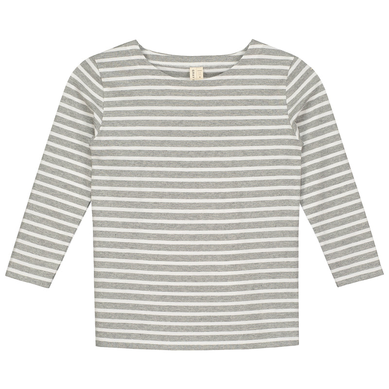 Gray Label Updated Style Long Sleeved Striped Tee, Grey Melange/White Stripe