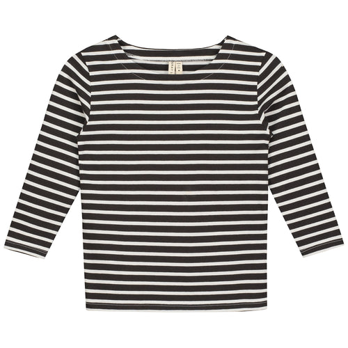 Gray Label Long Sleeved Striped Tee, Nearly Black/White Stripe
