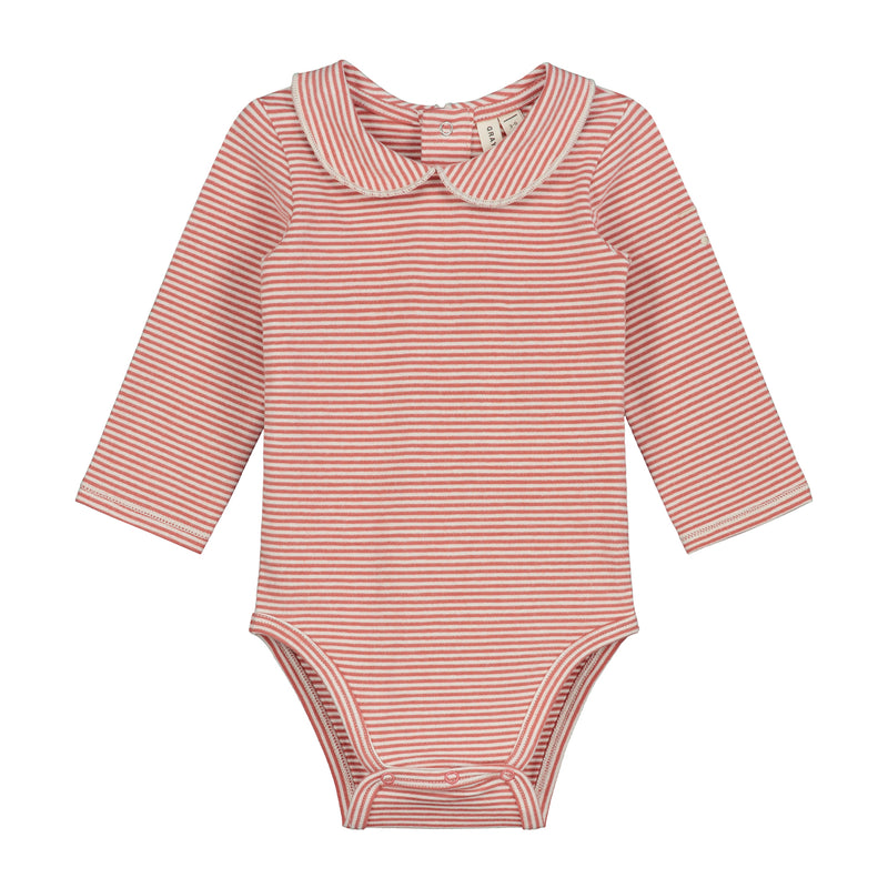 Baby Onesie with Collar, Faded Red/Cream Stripe