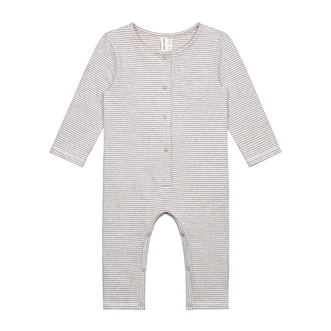 Baby L/S Playsuit, Grey Melange/Cream Stripes