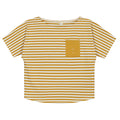 Pocket Tee, Mustard/Off White Stripe