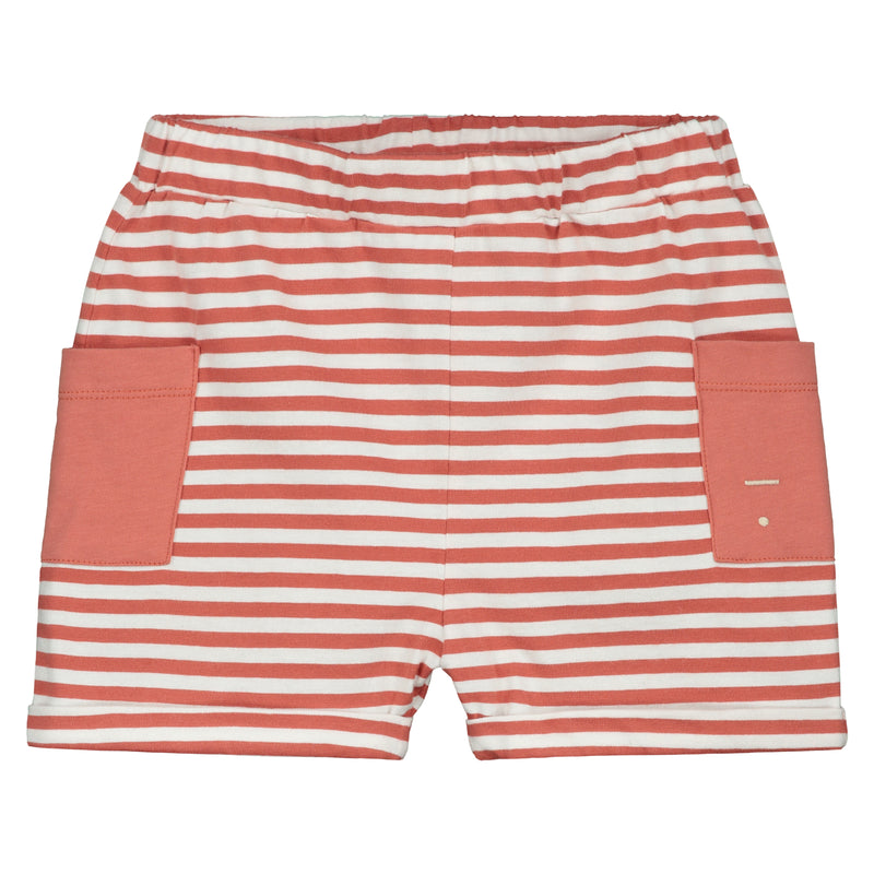 Relaxed Pocket Shorts, Faded Red/Off White Stripe