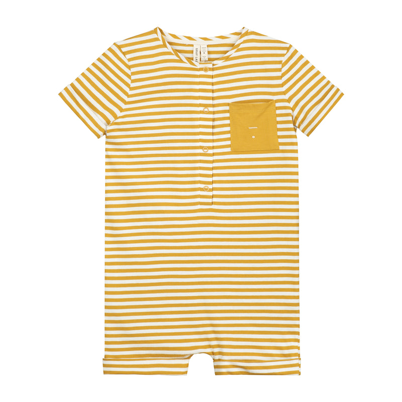 Short Leg Suit, Mustard/Off White Stripe