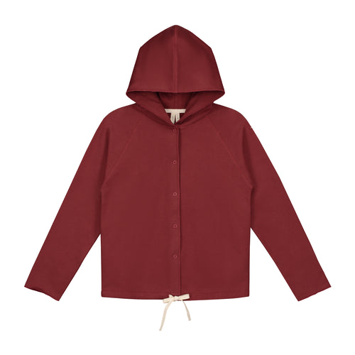Gray Label Hooded Cardigan With Snaps, Burgundy