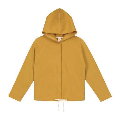 Gray Label Hooded Cardigan With Snaps, Mustard