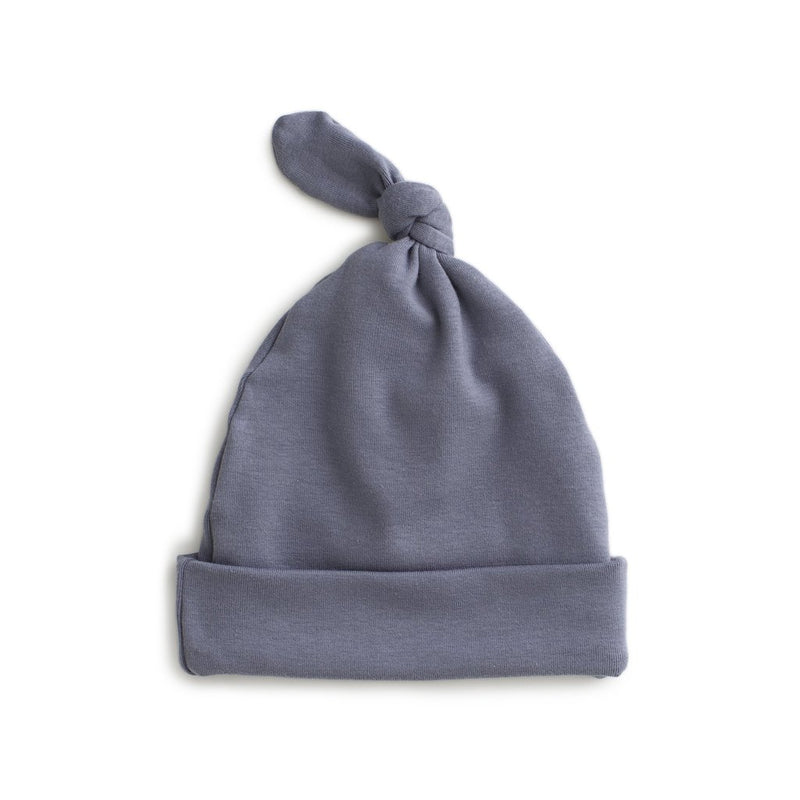 Knotted Baby Hat, Solid Slate Blue