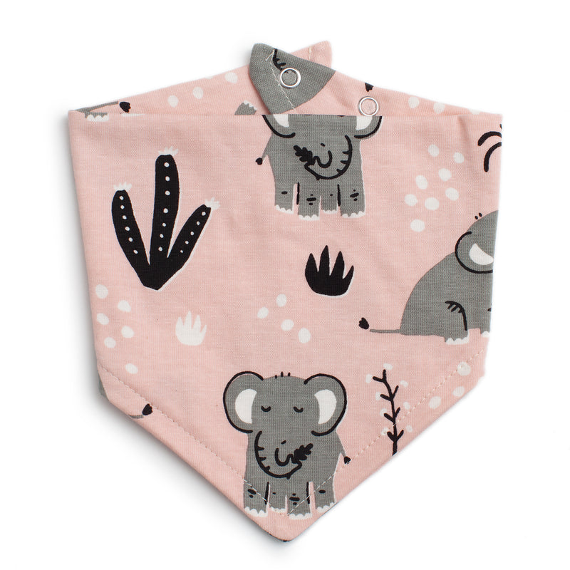 Winter Water Factory Kerchief Bib, Elephants Pink